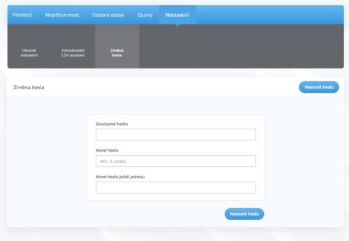 Změna hesla uživatel